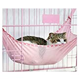 Cat Summer Cool Mesh Hammock Bed Kitten Cage Hanging Hammock Bed Pad (L, pink)