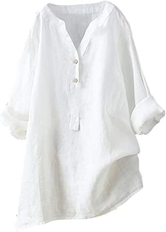 Winsummer Womens Plus Size Buttons Front Tunic Tops Long Sleeve Shirts Henley V Neck T-Shirt op with Roll Tab Sleeves