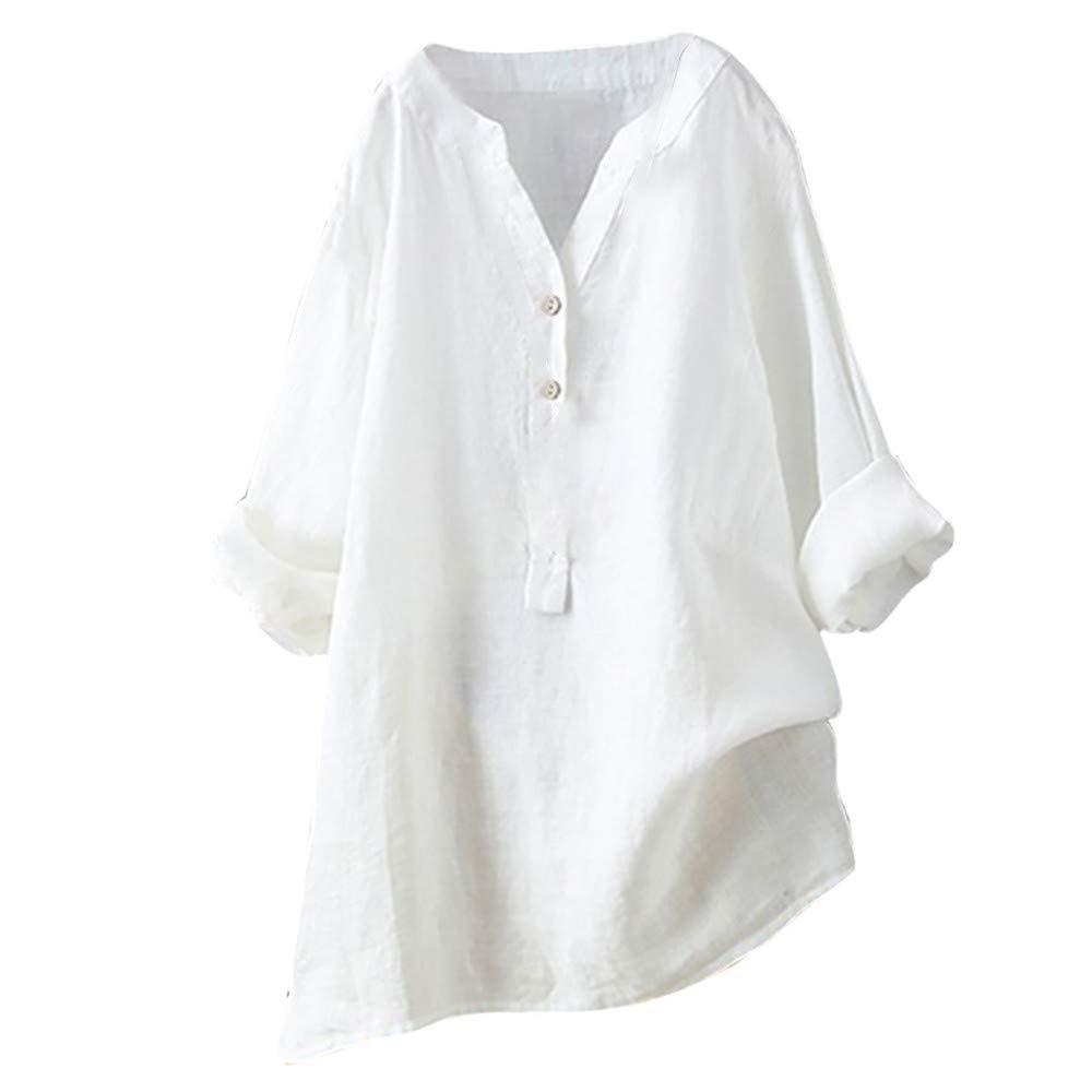 Women's Long Sve V Neck Button Shirt Tops Long Blouse Tee Casual Henley Shirt Loose Swing Tunic T-Shirt White by NIKAIRALEY T-Shirt
