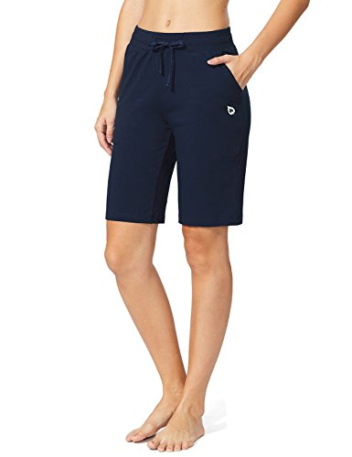 Baleaf Women's Active Yoga Lounge Bermuda Shorts with Pockets Navy Blue Size L