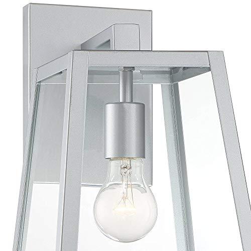 Arrington Modern Outdoor Wall Light Fixture Sleek Silver Steel 13'' Clear Glass for Exterior House Porch Patio Deck - John Timberland by John Timberland (Image #2)