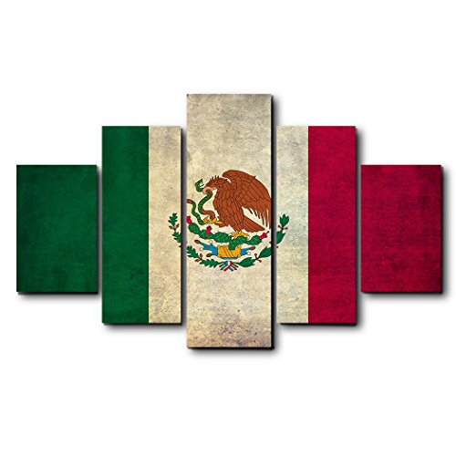 - EZON-CH Modern Canvas Wall Art Rectangle Oil Painting for Wall,Retro Flag of Mexican Artworks,Stretched by Wooden Frame,Ready to Hang,10''x16''10''x20''10''x24''10''x20''10''x16'