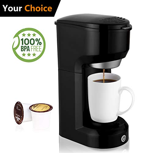 Single Serve Coffee Maker, Multi-Use Home Coffee Brewer 420ML with One-Touch Button for Most Single Cup Pods,Quick Brew Technology, 1000W, Black