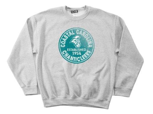 (NCAA Coastal Carolina Chanticleers 50/50 Blended 8-Ounce Vintage Circle Crewneck Sweatshirt, Large, Sport Grey)