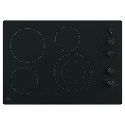 GE JP3530DJBB 30 Inch Smoothtop Electric Cooktop with 4 Radiant Elements, Front-Right Dual-Size Power Burner, Knob Controls, Keep Warm, Melt Setting, Fits Guarantee and ADA Compliant