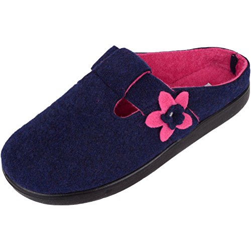 Absolute Footwear Womens Soft Felt Slip On Mules/Slippers/Indoor Shoes With Floral Design Navy/Fuchsia
