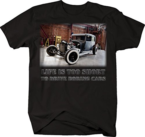 OS Gear Life is Too Short to Drive Boring Cars - Hotrod Ford Model A Classic Retro Tshirt - - Ford Retro