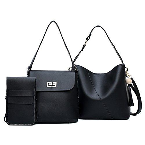 Tisdaini Bolsos de las mujeres en bolso de cuero de la PU + bolso de hombro + bolso mini teléfono bolsas grandes para mujeres negro Negro
