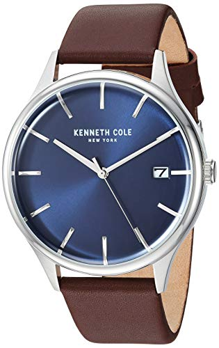 Kenneth Cole New York Male Stainless Steel Quartz Watch with Leather Strap, Brown, 20 (Model: KC15112001)