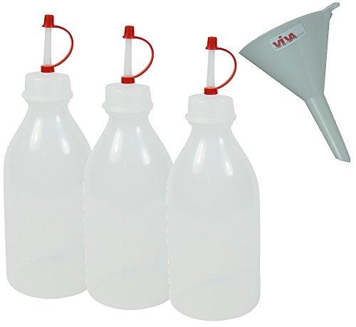 Viva-Haushaltswaren - 3 Medizinflaschen 250 ml / Spritzflaschen / Dosierflaschen / Tropfflaschen inkl. einem Trichter / BPA-frei, aus LDPE - made in Germany