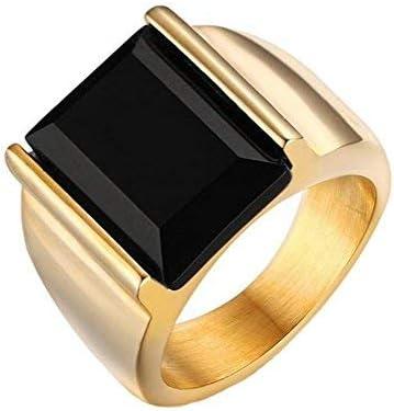PAURO Mens Stainless Steel Black Onyx Rings Vintage