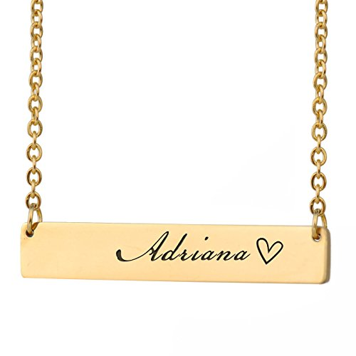 HUAN XUN Adriana Name Bella Name Necklace Bar Initial Necklace Personal Jewelry Birthday Valentine ()