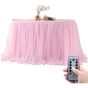 Amazon.com: Faldón de mesa de tutú de tul de color rosa ...