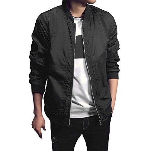 Chen Mens Bomber Casual Softshell Sports Wear Lightweight Slim Fit Jacket Coat (US M, Black)