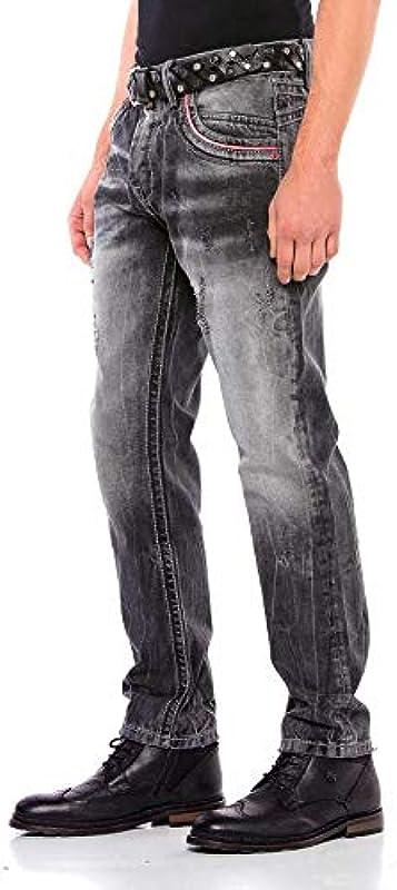 Cipo & Baxx męskie dżinsy klasyczne, Regular Straight Fit Denim Pants dżinsy czarne W40 L34: Odzież