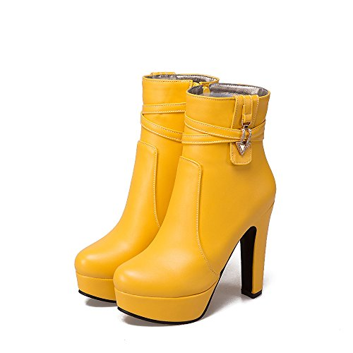 Platform Round Toe Heels Block High Boots amp;X qin Shoes Women's Ankle CXQ Yellow Boots WHqS0wSP