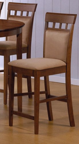 Set of 2 Contemporary Walnut Finish Counter Height Stools