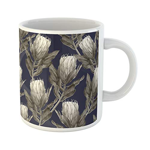 Emvency Funny Coffee Mug Beige Protea Flower Watercolor Design in Muted Sepia Tones on Indigo Blue Gray Bloom 11 Oz Ceramic Coffee Mug Tea Cup Best Gift Or ()