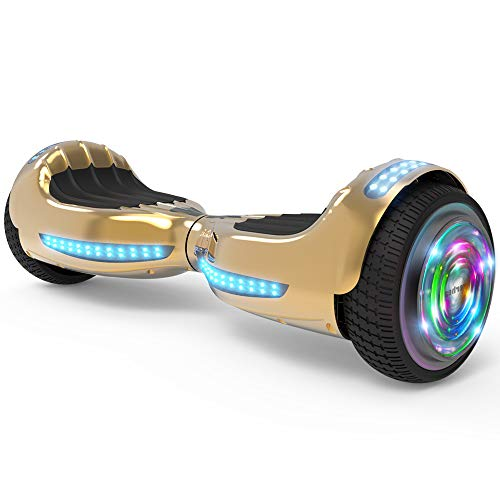 "Hoverboard UL 2272 Certified Flash Wheel 6.5"" Bluetooth Speaker with LED Light Self Balancing Wheel Electric Scooter (Chrome Gold)"