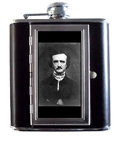 Edgar Allan Poe Horror Author Portrait 5oz Stainless Steel & Leather Hip Flask with Built-In Cigarette Case ()