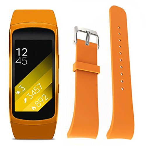 For Samsung Gear Fit 2 SM-R360, Ikevan ® Fashion Luxury Silicone Watch Replacement Band Strap For Samsung Gear Fit 2 SM-R360 (Orange)