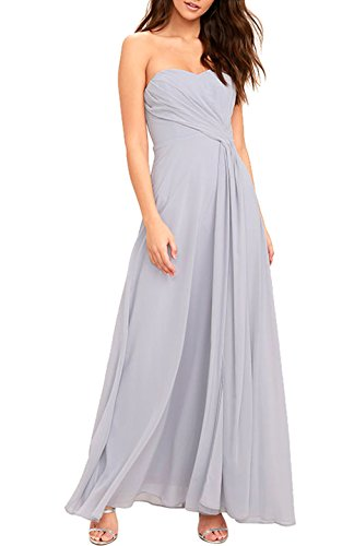 Absolute Rosy Women's Sleeveless Strapless Sweetheart Bodice Chiffon Maxi Evening Dress Light Grey L