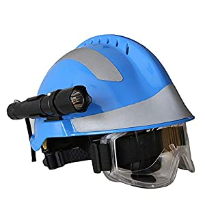 Casco de Rescate al Aire Libre, Kit de protección de Emergencia de Casco de Rescate de terremoto con Gafas y Linterna de deslumbramiento Fyxd 11