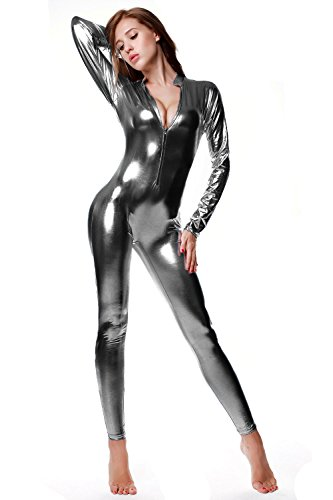 NIliker Women's Shiny Liquid Metallic Wet Look Zipper Front Catsuit (Onesize, Silver - Suit Silver Womens