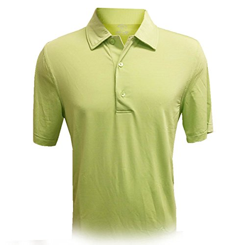 Monterey Club Mens Dry Swing Tonal Texture Stripe Self Collar Solid Shirt #3630 (Sap Green, 2X-Large)