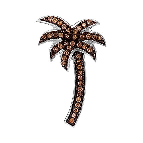 Roy Rose Jewelry 10k White Gold Cognac-brown Colored Round Diamond Palm Tree Nautical Fine Pendant 1/4 Carat tw