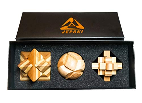Wooden Puzzle Gift Set Perplexing, 3D, IQ, Brain Teaser, Educational Entertainer, Boredom Breaker