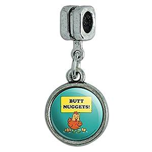 GRAPHICS & MORE Butt Nuggets Chicken Eggs Funny Humor Italian European Style Bracelet Charm Bead