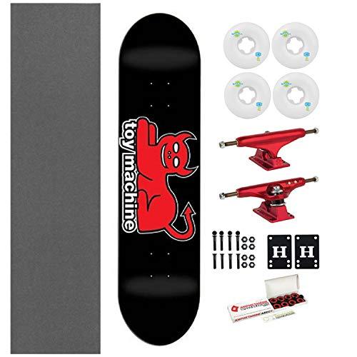 "Toy Machine Skateboard Devil Cat Black 7.625"" with Independent Trucks, Ricta Wheels"