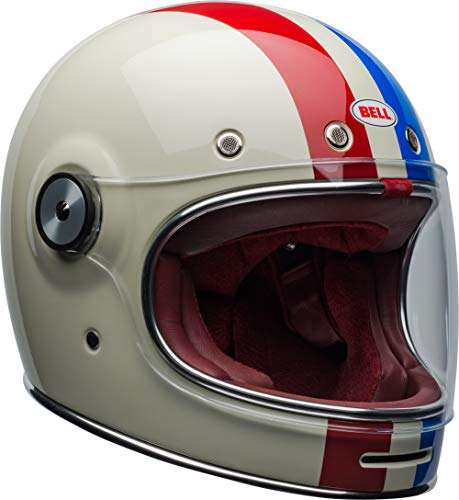 Bell Bullitt Full-Face Motorcycle Helmet (Command Gloss Vintage White/Red/Blue, Medium)