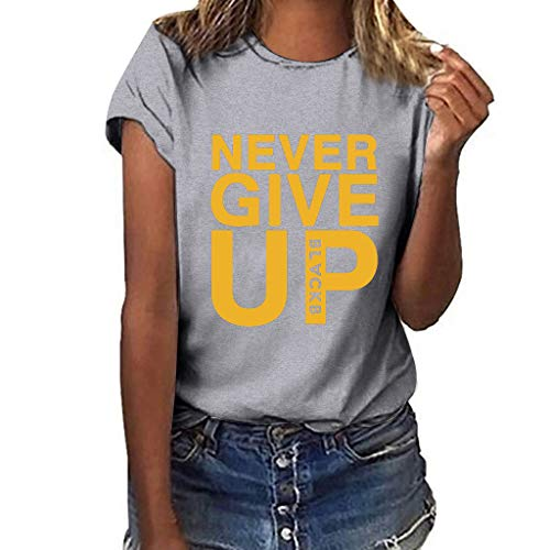 Women's Cute Print T-Shirt,Summer Plus Size Sleeveless Never Give Up Letter Tank Tops Casual Cap Sleeve Loose Blouse Tops (Gray-Style 4, L)