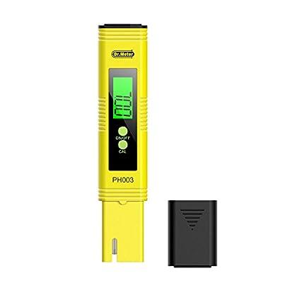 Dr.meter PH003 Digital pH Meter pH Tester with pH buffer powder pH Test Strips Auto Calibration Button 0-14 pH Testing, Aquarium, Water, Swimming Pool, Hydroponics