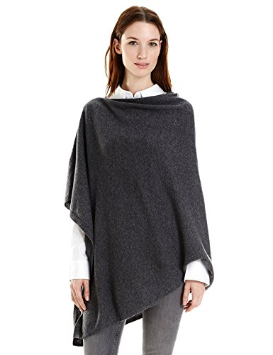 New York Cashmere 100% Pure Cashmere Draped Poncho (Charcoal) by New York Cashmere