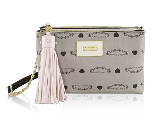 Betsey Johnson Double Zip Compartment Tassel Crossbody Clutch Bag - Grey Multi
