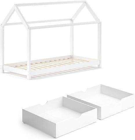 Vicco – Cuna Wiki 90 x 200 cm, Color Blanco, Espacio para Dormir, cajones, Cama de casa, casa para niños (Cuna + cajones)