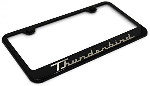 Ford Thunderbird License Plate Frame Stainless Steel Standard Black Powder Coat ()