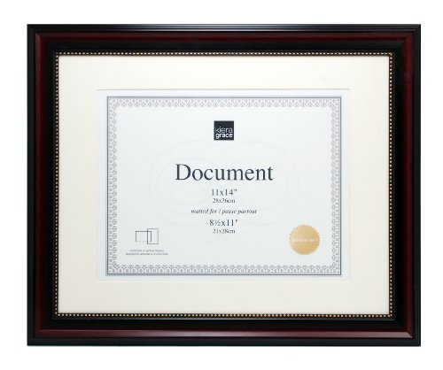 Beaded Frame (Kiera Grace Lucy Document Frame, 11 by 14-Inch, Matted to 8.5 by 11-Inch, Dark Brown with Gold)