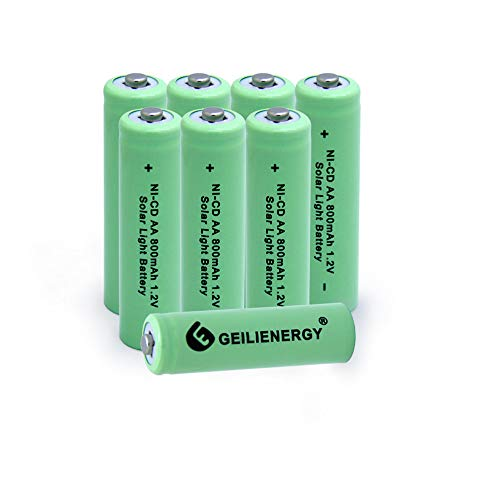 - GEILIENERGY NICD AA 800mAh Rechargeable Battery for Solar Light,Solar Lamp,Garden Lights(Pack of 8)