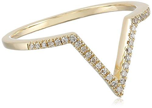 14k Gold Diamond Thin Chevron Ring (1/10cttw, I-J Color, I2-I3 Clarity), Size 7