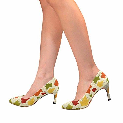 Vestito Di Interesse Classico Womens Moda Tacco Alto Pompa Foglie Colorate Dautunnali
