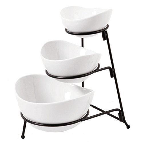 Gibson Gracious Dining 3 Tier Oval Bowl Set Ware with Metal Rack, White