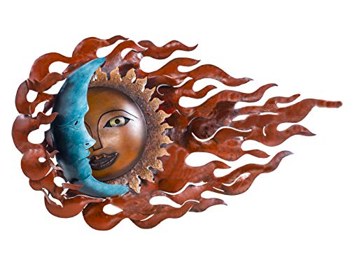 isan Crafted & Painted Steel | Sun-Moon Wall Decor | Metal Wall Art | Wind Eclipse ()