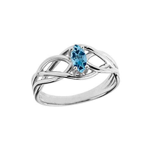 - Exquisite Sterling Silver December Birthstone Celtic Knot Engagement/Promise Ring (Size 4)