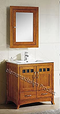 "30"" Bathroom Vanity Cabinet White Tech Stone Sink Faucet TR /med cabinet- Cinnamon"