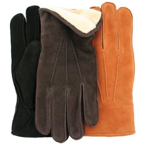 Men's 'POLAR' Deersuede Leather Gloves with Fleece Lining By GRANDOE, X-Large, Black/Black