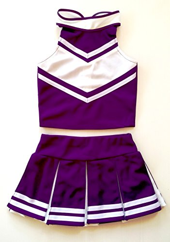[Little Girls' Cheerleader Cheerleading Outfit Uniform Costume Cosplay Violet/White (M / 5-8)] (Cheerleader Outfit For Girls)